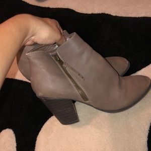 tan high heeled booties